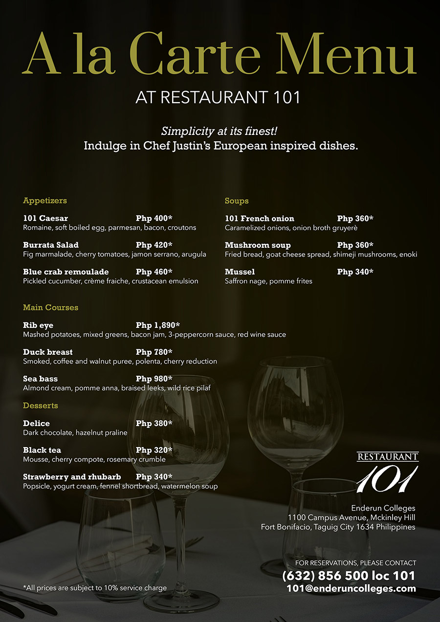 August-2017--Restaurant-101-A-la-carte-menu-WEB